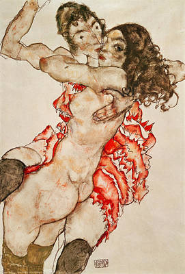 Two Women Embracing Art Print by Egon Schiele