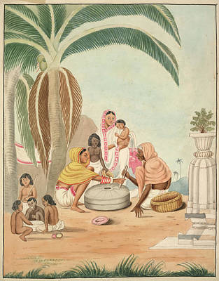 1840 Photograph - Two Women Grinding Flour by British Library