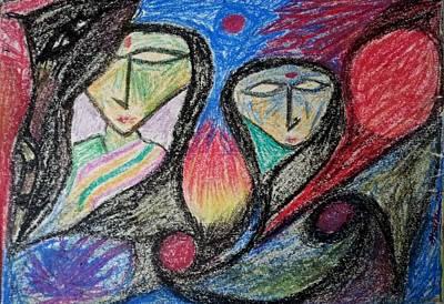 Painting - Two Women by Hari Om Prakash