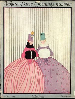 Two Women In Winter Gowns Art Print