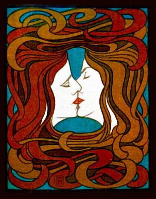 Lesbian Digital Art - Two Women Kissing by Peter Behrens