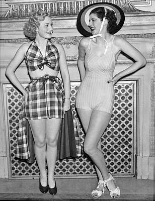 Fashion Model Photograph - Two Women Model Swimwear by Underwood Archives