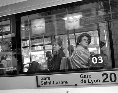Photograph - Two Women Paris Bus by Dave Beckerman