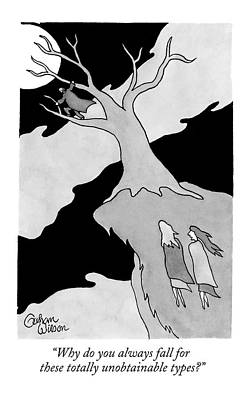 Falling Drawing - Two Women Speak On A Jutting Cliff. A Man by Gahan Wilson