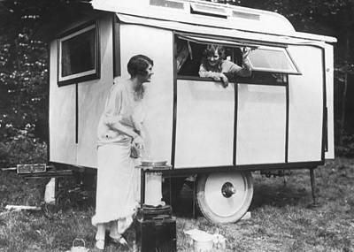 Photograph - Two Women Trailer Camping by Underwood Archives