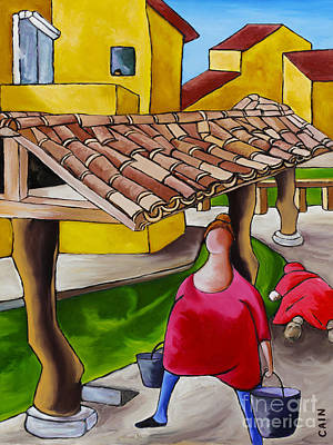 Two Women Under Tile Roof Art Print by William Cain