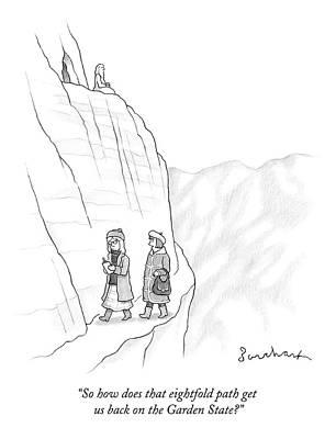Hiking Drawing - Two Women Walk Down From The Guru On The Mountain by David Borchart