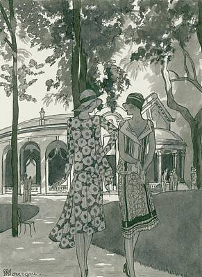 Fashion Illustration Wall Art - Digital Art - Two Women Walking In A Park by Pierre Mourgue