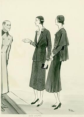 Two Women Wearing A Chanel Jersey Suit Print by Ren? Bou?t-Willaumez