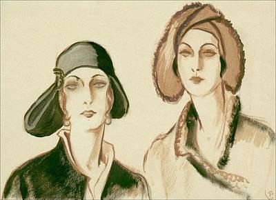 Looking At Camera Digital Art - Two Women Wearing Felt Hats by Porter Woodruff