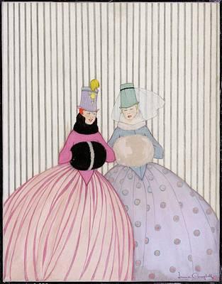 Two Women Wearing Hand Warmers Art Print