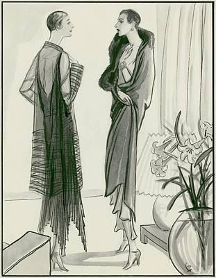 Two Women Wearing Wraps Art Print by Porter Woodruff