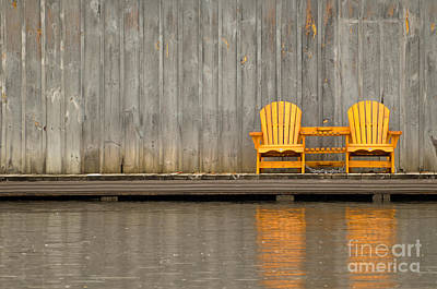 Photograph - Two Wooden Chairs On An Old Dock by Les Palenik