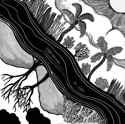 Drawing - Two Worlds by Aurora Levins Morales
