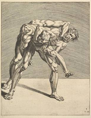 Dirk Drawing - Two Wrestlers, From Wrestlers, Plate 4 by Dirk Volckertsz Coornhert
