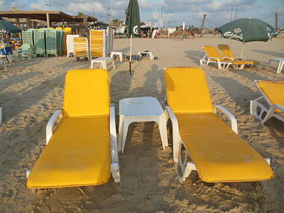 Photograph - Two Yellow Beach Chairs by Esther Newman-Cohen