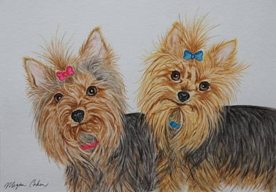 Pet Portraits Painting - Two Yorkies by Megan Cohen