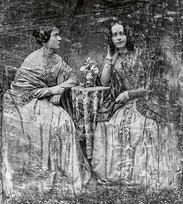 Daguerreotype Photograph - Two Young Antebellum Ladies Almost Lost To Time by Daniel Hagerman