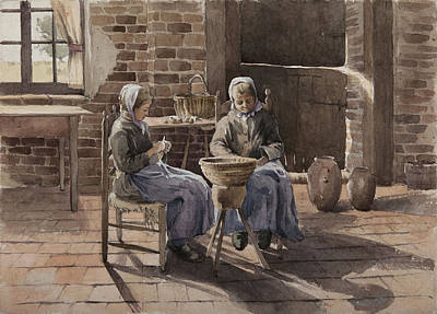Chair Drawing - Two Young Women Peeling Potatoes  by Henri Duhem
