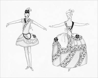 Leisure Digital Art - Two Young Women Wearing Costumes Worn By Marie by Claire Avery