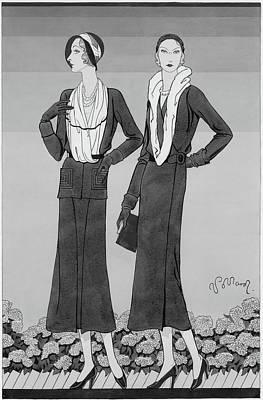 Scarf Digital Art - Two Young Women Wearing Schiaparelli Coats by Douglas Pollard