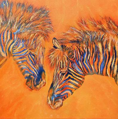 Painting - Two Zebras by Maris Sherwood