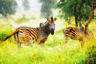 South Africa Zebra Painting - Two Zebras Painting by George Fedin and Magomed Magomedagaev
