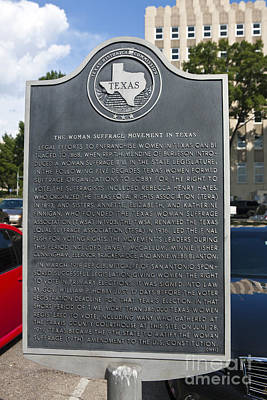 Tx-15026 The Woman Suffrage Movement In Texas Art Print by Jason O Watson