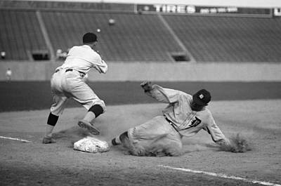 Detroit Tigers Photograph - Ty Cobb Sliding by Gianfranco Weiss