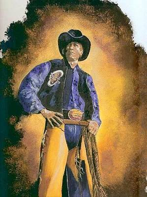 Painting - Ty Murray  by Jerry Bates