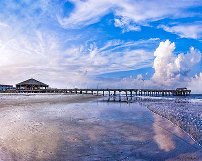 Tybee Island Pier On A Beautiful Afternoon Art Print by Mark E Tisdale