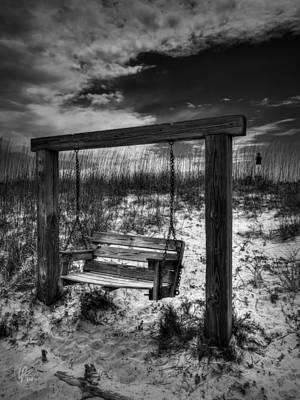 Photograph - Tybee Island Swing 002 Bw by Lance Vaughn