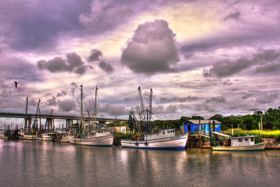The Waiting Tybee Islands' Agnes Marie Shrimp Boat Art Art Print by Reid Callaway