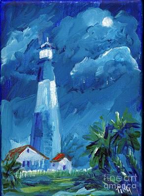 Art Print featuring the painting Tybee Lighthouse Night Mini by Doris Blessington