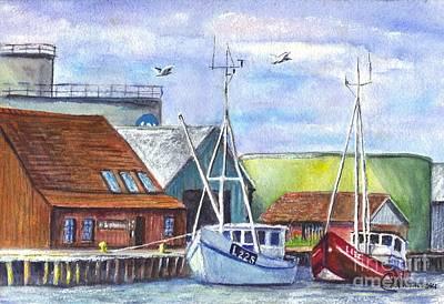 Tyboron Harbour In Denmark Art Print by Carol Wisniewski