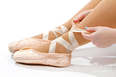 Tying Ballet Slippers Art Print