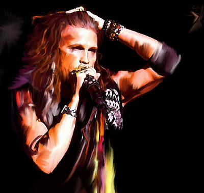 Steven Tyler Painting -  Steven Tyler  Tyler II by Iconic Images Art Gallery David Pucciarelli