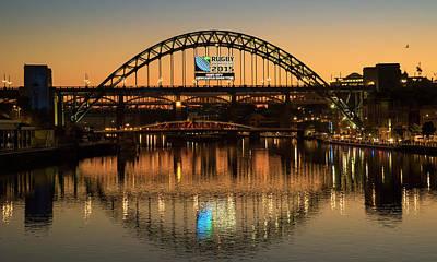 Tyne Bridge Over River Tyne At Sunset Art Print