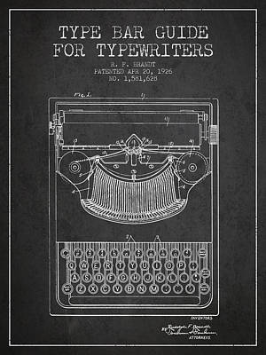 Type Bar Guide For Typewriters Patent From 1926 - Charcoal Art Print