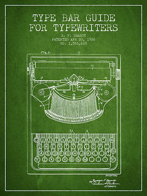 Typewriter Digital Art - Type Bar Guide For Typewriters Patent From 1926 - Green by Aged Pixel