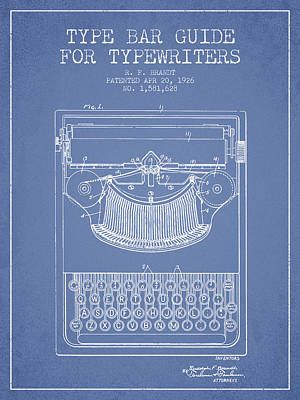 Typewriter Digital Art - Type Bar Guide For Typewriters Patent From 1926 - Light Blue by Aged Pixel