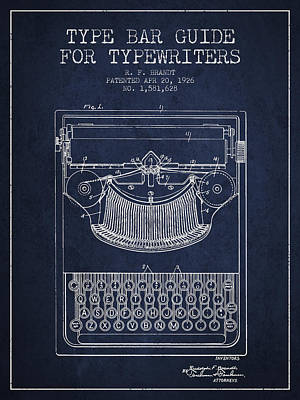 Typewriter Digital Art - Type Bar Guide For Typewriters Patent From 1926 - Navy Blue by Aged Pixel