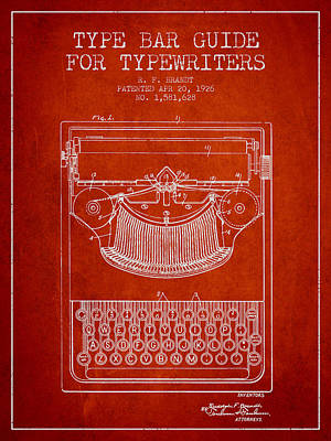 Typewriter Digital Art - Type Bar Guide For Typewriters Patent From 1926 - Red by Aged Pixel