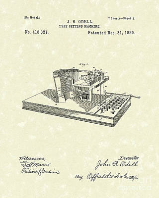 Drawing - Type Setting Machine 1889 Patent Art by Prior Art Design