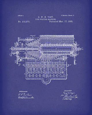 Drawing - Type Writer 1885 Patent Art Blue by Prior Art Design