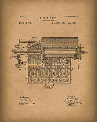 Drawing - Type Writer 1885 Patent Art Brown by Prior Art Design