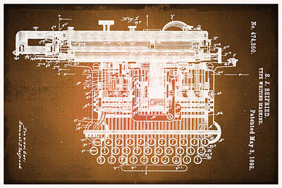 Typewriter Keys Mixed Media - Type Writing Machine Patent Blueprint Drawings Sepia by Tony Rubino