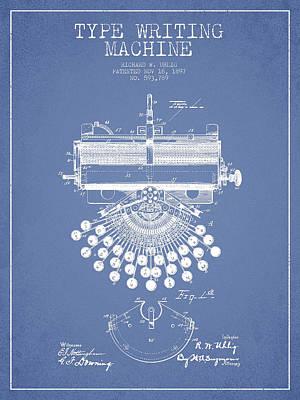 Typewriter Digital Art - Type Writing Machine Patent Drawing From 1897 - Light Blue by Aged Pixel