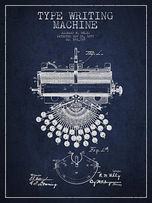 Type Writing Machine Patent Drawing From 1897 - Navy Blue Art Print by Aged Pixel