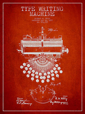 Typewriter Digital Art - Type Writing Machine Patent Drawing From 1897 - Red by Aged Pixel